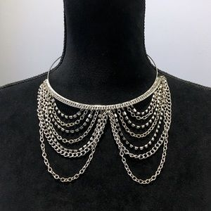 Draped Chandelier Rhinestone Chain Necklace